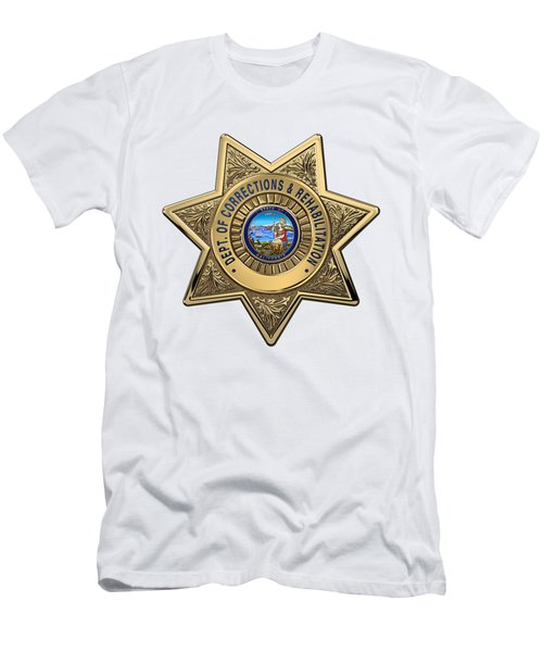 Men's T-Shirt (Slim Fit) featuring the digital art California Department Of Corrections And Rehabilitation - C D C R  Officer Badge Over White Leather by Serge Averbukh