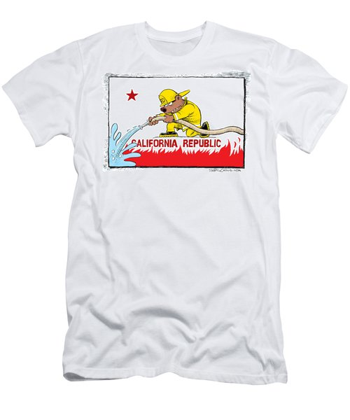 California Firefighter Flag Men's T-Shirt (Athletic Fit)