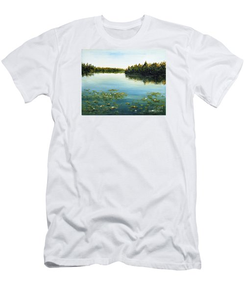 Men's T-Shirt (Slim Fit) featuring the painting Calm by Arturas Slapsys