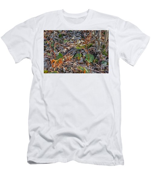 Camouflaged Plumage With Fallen Leaves Men's T-Shirt (Athletic Fit)