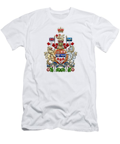 Canada Coat Of Arms Over White Leather Men's T-Shirt (Athletic Fit)