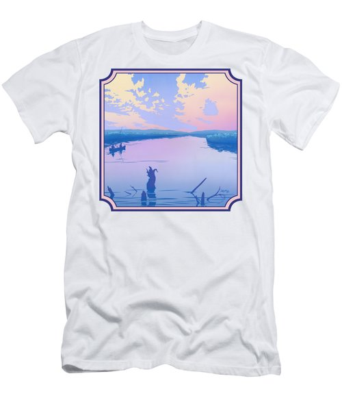 Canoeing The River Back To Camp At Sunset Landscape Abstract - Square Format Men's T-Shirt (Athletic Fit)