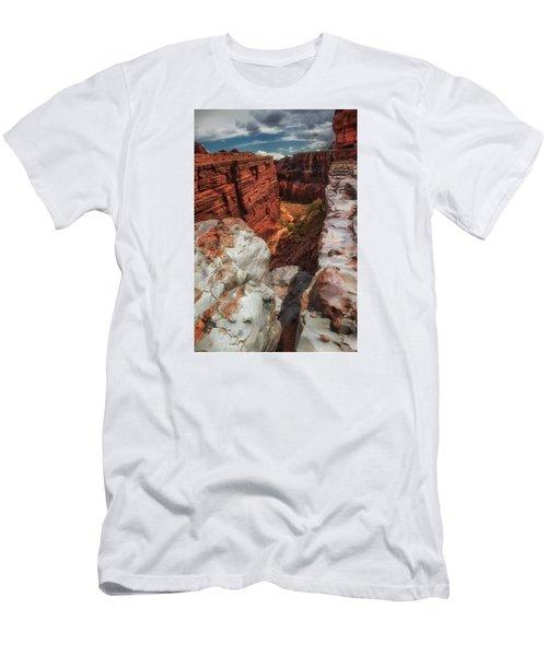 Canyon Lands Quartz Falls Overlook Men's T-Shirt (Slim Fit) by Gary Warnimont