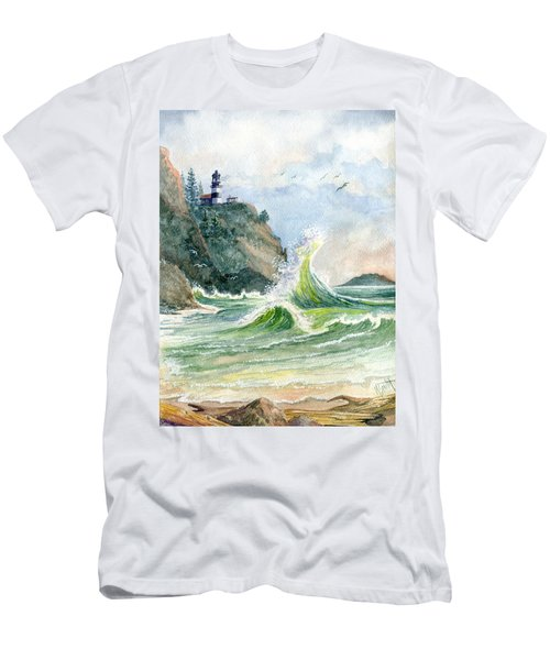Men's T-Shirt (Slim Fit) featuring the painting Cape Disappointment Lighthouse by Marilyn Smith
