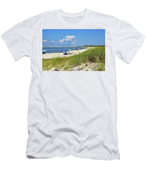 Men's T-Shirt (Slim Fit) featuring the photograph Cape Henlopen State Park - Beach Time by Brendan Reals