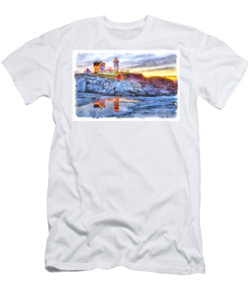 Cape Neddick Light Watercolor Men's T-Shirt (Athletic Fit)