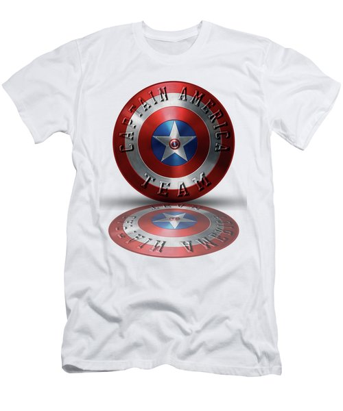 Captain America Team Typography On Captain America Shield  Men's T-Shirt (Slim Fit) by Georgeta Blanaru