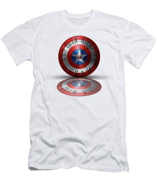Captain America Team Typography On Captain America Shield  Men's T-Shirt (Athletic Fit)