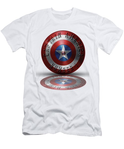 Captain America Typography On Captain America Shield  Men's T-Shirt (Slim Fit) by Georgeta Blanaru