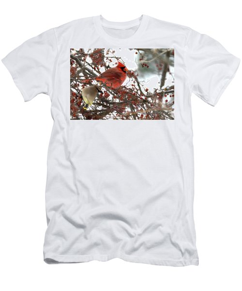 Men's T-Shirt (Athletic Fit) featuring the photograph Cardinal And Cedar Wax Wing Feeding On Crab Apples by Betty Pauwels