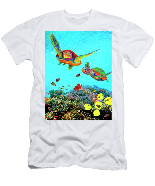 Caribbean Sea Turtles And Reef Fish Vertical Men's T-Shirt (Athletic Fit)