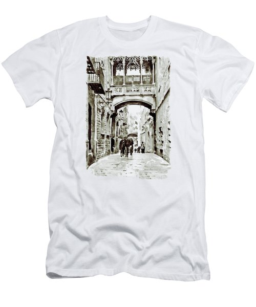 Carrer Del Bisbe - Barcelona Black And White Men's T-Shirt (Slim Fit) by Marian Voicu
