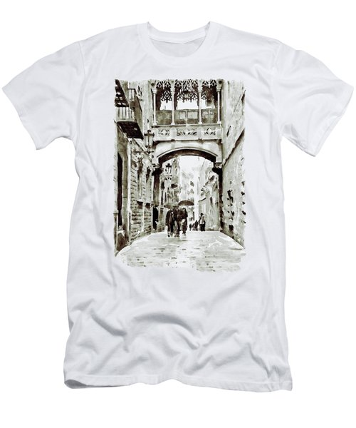 Carrer Del Bisbe - Barcelona Black And White Men's T-Shirt (Athletic Fit)