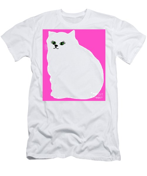 Cartoon Plump White Cat On Pink Men's T-Shirt (Slim Fit) by Marian Cates