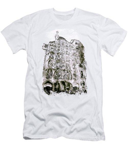 Casa Batllo Barcelona Black And White Men's T-Shirt (Slim Fit) by Marian Voicu