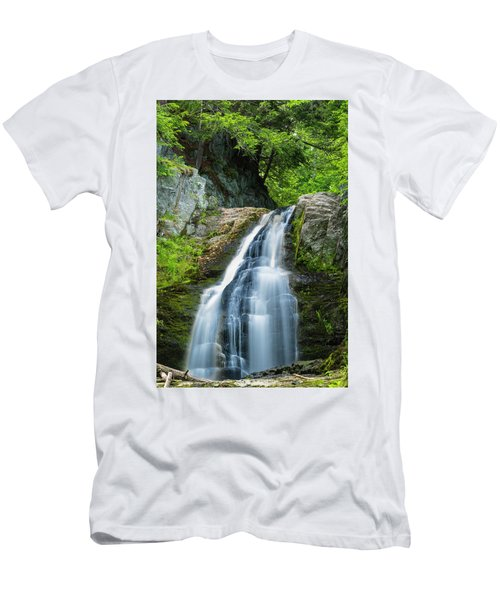 Men's T-Shirt (Slim Fit) featuring the photograph Cascade Falls In South Portland In Maine by Ranjay Mitra