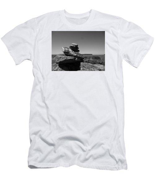 Casco Bay Cairn Bw Men's T-Shirt (Slim Fit) by Barbara Bardzik