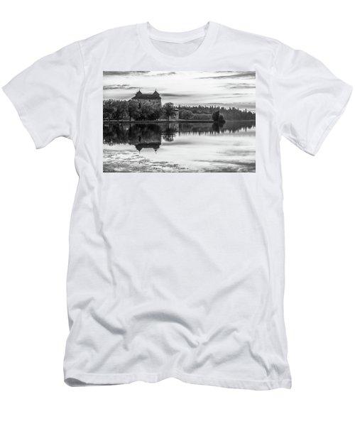 Castle In Black And White Men's T-Shirt (Slim Fit) by Teemu Tretjakov