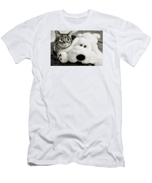 Men's T-Shirt (Slim Fit) featuring the photograph Cat And Dog In B W by Andee Design