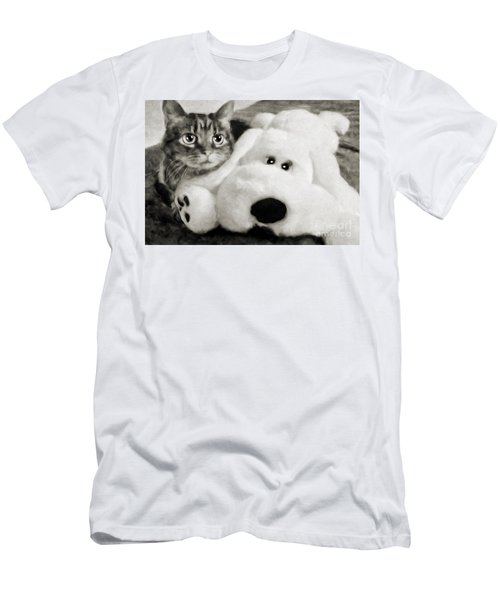 Cat And Dog In B W Men's T-Shirt (Athletic Fit)