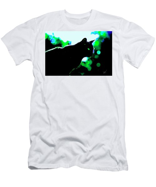 Cat Bathed In Green Light Men's T-Shirt (Slim Fit) by Gina O'Brien