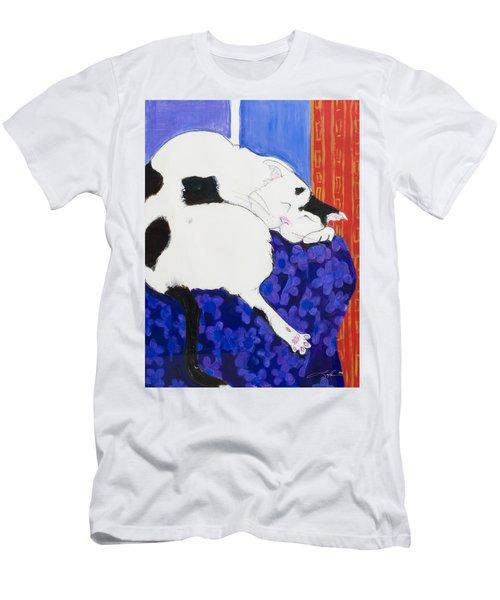 Cat IIi Peaceful   Men's T-Shirt (Slim Fit) by Leela Payne