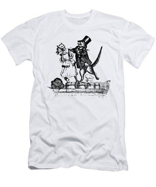 Cat Love Grandville Transparent Background Men's T-Shirt (Slim Fit) by Barbara St Jean