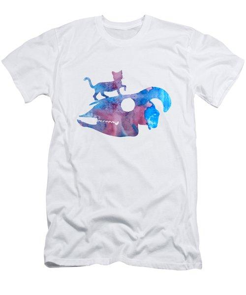 Cat On Goat Skull Men's T-Shirt (Athletic Fit)