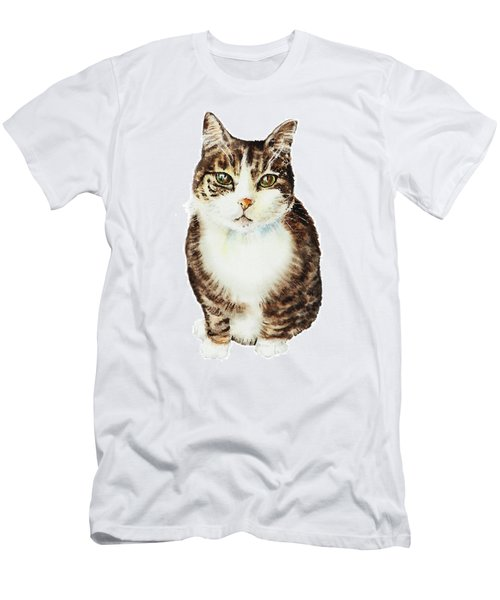 Cat Watercolor Illustration Men's T-Shirt (Athletic Fit)