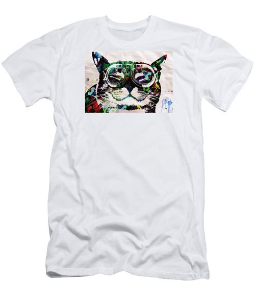 Cat Watercolor Rainbow Dreaming In Color Poster Print By Robert R Men's T-Shirt (Athletic Fit)