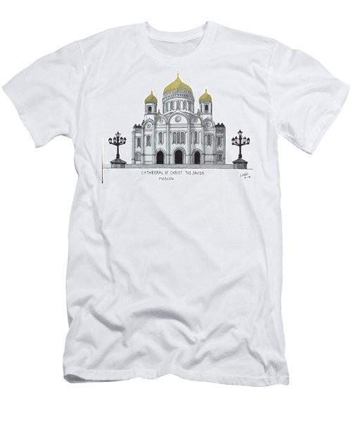 Men's T-Shirt (Slim Fit) featuring the drawing Cathedral  Of Christ The Savior - Moscow by Frederic Kohli