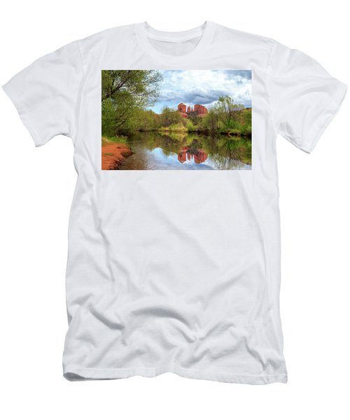 Cathedral Rock Reflection Men's T-Shirt (Slim Fit) by James Eddy