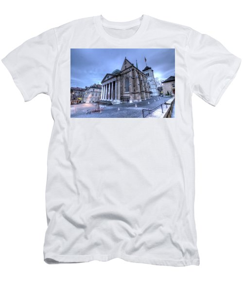 Cathedral Saint-pierre, Peter, In The Old City, Geneva, Switzerland, Hdr Men's T-Shirt (Slim Fit) by Elenarts - Elena Duvernay photo