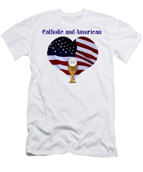 Catholic And American Flag And Holy Eucharist Men's T-Shirt (Athletic Fit)