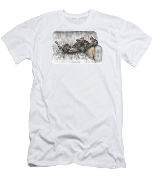 Men's T-Shirt (Slim Fit) featuring the drawing Caution Guard Dog - Doberman Pinscher Print Color Tinted by Kelli Swan
