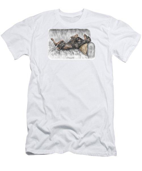 Caution Guard Dog - Doberman Pinscher Print Color Tinted Men's T-Shirt (Athletic Fit)