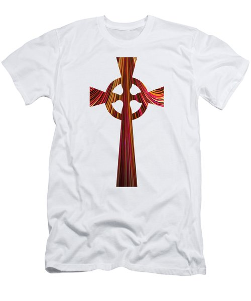 Celtic Cross With Fractal Abstract Fill Men's T-Shirt (Athletic Fit)