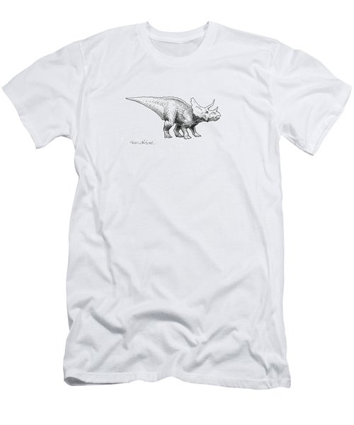 Men's T-Shirt (Slim Fit) featuring the drawing Cera The Triceratops - Dinosaur Ink Drawing by Karen Whitworth