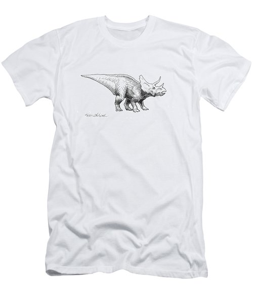 Cera The Triceratops - Dinosaur Ink Drawing Men's T-Shirt (Athletic Fit)