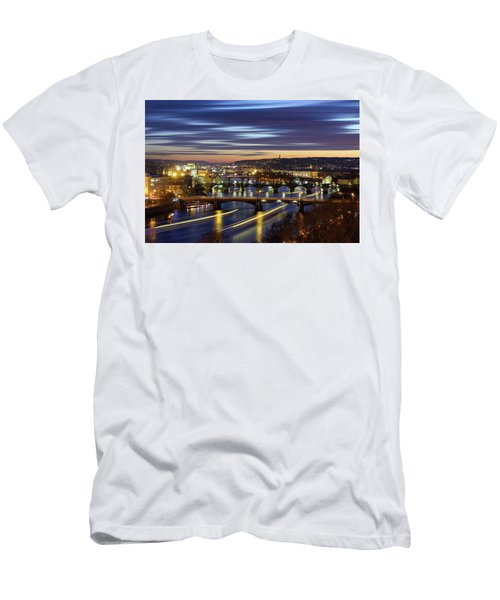 Charles Bridge During Sunset With Several Boats, Prague, Czech Republic Men's T-Shirt (Athletic Fit)