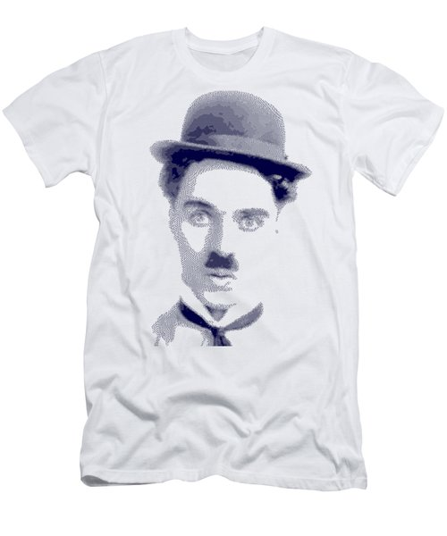 Charlie Chaplin - Cross Hatching In Blue Men's T-Shirt (Athletic Fit)