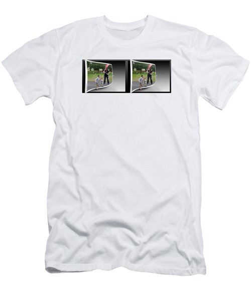 Men's T-Shirt (Slim Fit) featuring the photograph Chasing Bubbles - Gently Cross Your Eyes And Focus On The Middle Image by Brian Wallace