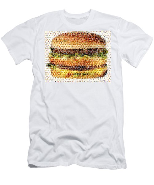 Men's T-Shirt (Slim Fit) featuring the mixed media Cheeseburger Fast Food Mosaic by Paul Van Scott