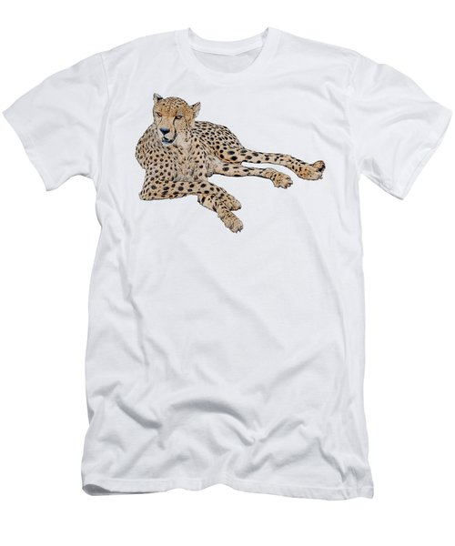 Cheetah Resting, Isolated On White Background, Cartoon Style #1 Men's T-Shirt (Athletic Fit)