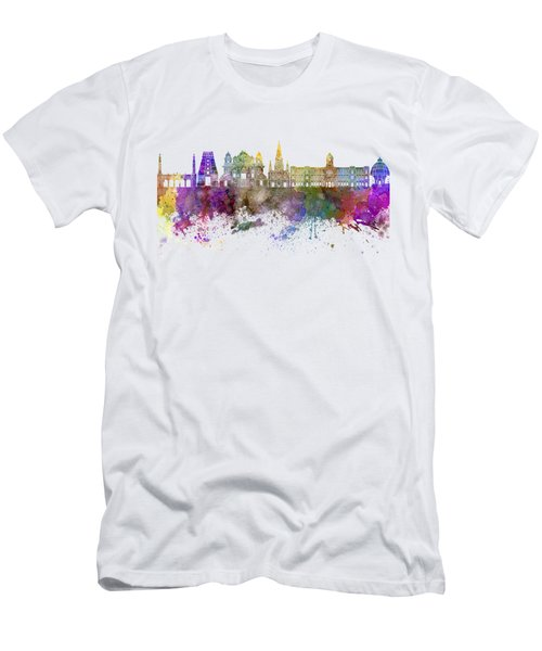 Chennai Skyline In Watercolor Background Men's T-Shirt (Athletic Fit)