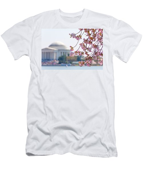 Cherry Blossoms And Jefferson Memorial Men's T-Shirt (Athletic Fit)