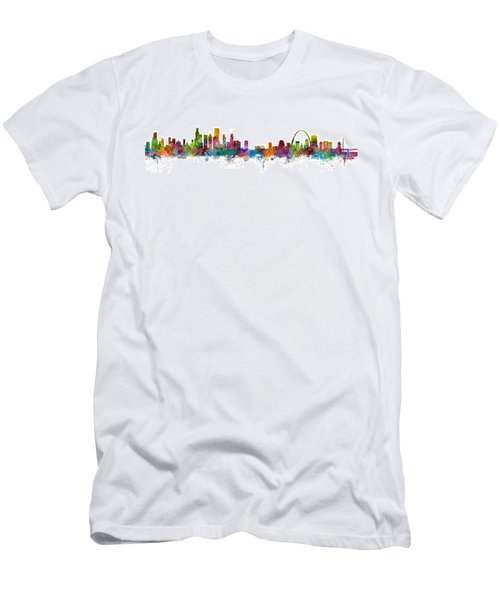 Chicago And St Louis Skyline Mashup Men's T-Shirt (Slim Fit) by Michael Tompsett