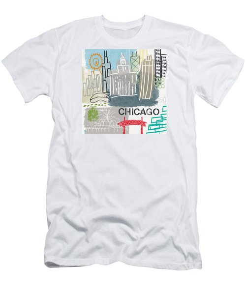 Chicago Cityscape- Art By Linda Woods Men's T-Shirt (Athletic Fit)