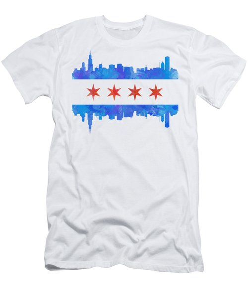 Chicago Flag Watercolor Men's T-Shirt (Slim Fit) by Mike Maher