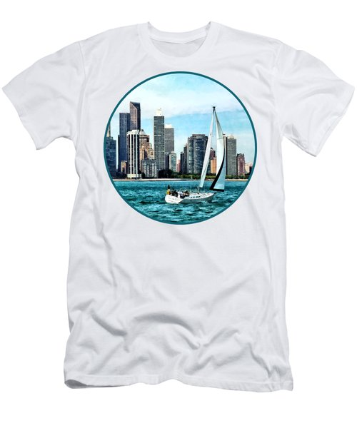 Chicago Il - Sailboat Against Chicago Skyline Men's T-Shirt (Slim Fit) by Susan Savad